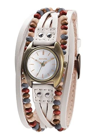 Kahuna Women's Quartz Watch with Beige Dial Analogue Display and Beige Leather Strap KLS-0202L