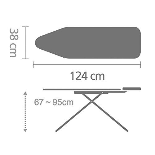 Brabantia 310102 Streckmetall-Bügeltisch 124 x 38 cm mit Dampfstopmulde, 22 mm Rohrdurchmesser - 3