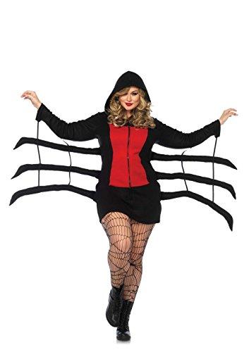 Für Spider Frauen Kostüme (Leg Avenue Damen Spinnen Kostüm Cozy Spider Schwarze Witwe 3XL -)