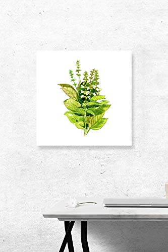 PEP Wand-Dekorationsschild Dryopteris Filix Mas Aquarell Quadratisches Metallschild Postschild Schlafzimmer Schild