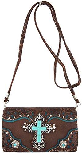 Blancho Bedding Croce Body portafoglio marrone WALLET-BROWN