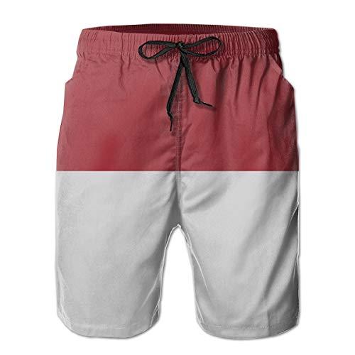 Ye Hua Beachwear-Sommerferien-Badehose mit indonesischer Flagge für Herren Quick Dry L -