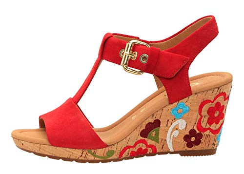 Gabor 22-824 Damen Sandalen Sandaletten Plateau Keil Kork, Schuhgröße:38.5 EU, Farbe:Rot -