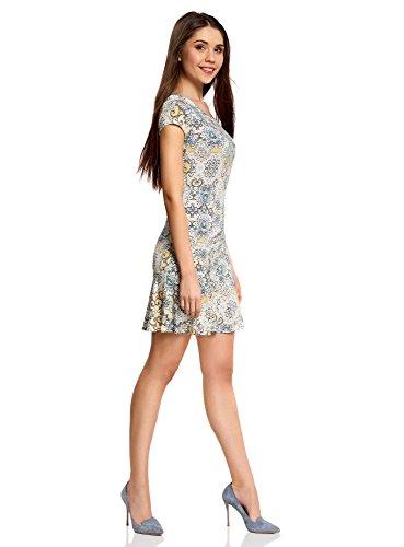 oodji Ultra Damen Jersey-Kleid mit Volants Elfenbein (3025E)