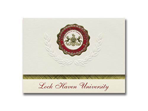 Signature Ankündigungen Lock Haven Universität Graduation Ankündigungen, platin Stil, Elite Pack 20 mit Lock Haven u. Seal Folie