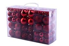 Idea Regalo - MC Trend 100 Palline di Natale opache, in plastica, Ø Fino a 6 cm, per Albero di Natale, Rosso Oro Argento
