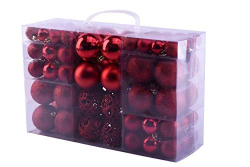 MC Trend 100 Weihnachtskugeln in Rot, matt, glänzend Kunststoff Ø bis 6 cm Kugeln Christbaumschmuck Baumschmuck Weihnachten in der Farbe Rot (Rot)