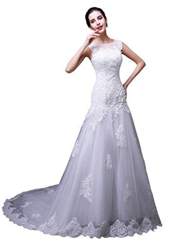 vimans® Damen Elegante Lange Spitze Perlen Brautschmuck Kleider Hochzeit Kleider Gr. 50, weiß