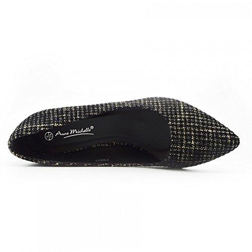 Kick Footwear - Donna Brevetto Punta tacco Gattino Scarpe Tallone,scarpe donna,tacco basso scarpe Nero-Nudo