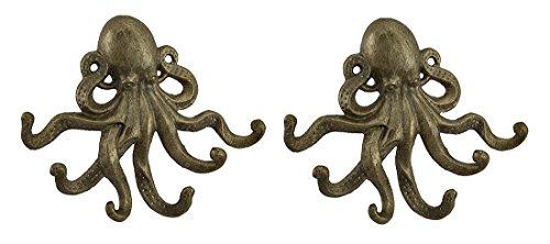 2Stück antik gold Gusseisen Octopus Wandtattoo Haken Set