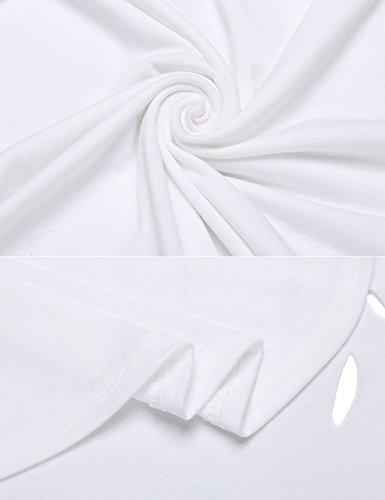 Cooshional Damen T Shirt Sexy Tops Sommer Locker Oberteile Lang V Ausschnitt Weiß