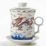 TEA SONG Keramik Teetasse (310 ml) mit Infuser und Deckel, (WD), Reise Teegeschirr mit Filter Chinesischer Drache, Teetasse Steiler Maker, Brühsieb für Loose Leaf Tee, Diffusor für Geschenk Teamug