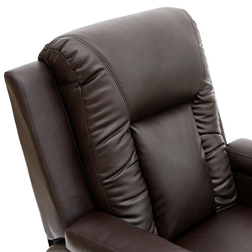 OSCAR LEATHER RECLINER w DRINK HOLDERS ARMCHAIR SOFA CHAIR RECLINING CINEMA (Brown)