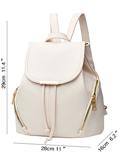 Menschwear PU Zaino Satchel Daypack sacchetto di scuola Rosa Bianco
