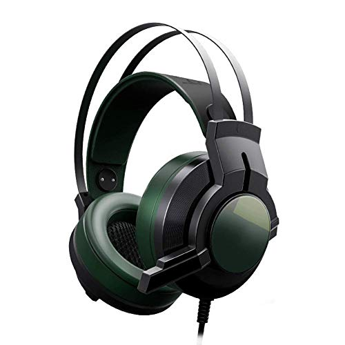 YUNYIN Gaming Headset, RBG Headset Stereo Subwoofer, Kopfhörer mit Noise Cancelling Mikrofon für PC/Laptop-DarkGreen Circumaural Gaming-headset