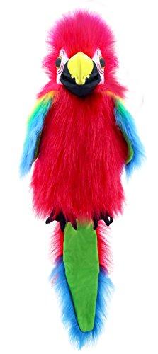 Lashuma Plüsch - Handpuppe Papagei Rot Grün | Plüschtier Vogel Handspielpuppe | Tierpuppe ca. 45 cm