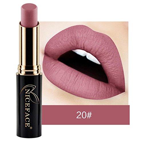 T-liner (ESAILQ Neuer Lippenwäsche Mattflüssiger Matte Metall Lippenstift wasserdichtes Lippenglanz Make up 24 Farbtöne (T))