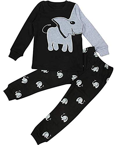 EULLA - Pijama de Dos Piezas para niño, diseño de Dinosaurio y Luna, Elefante y Robot 03 Schwarz (Elefant) 86 cm (tamaño Fabricante : 90)