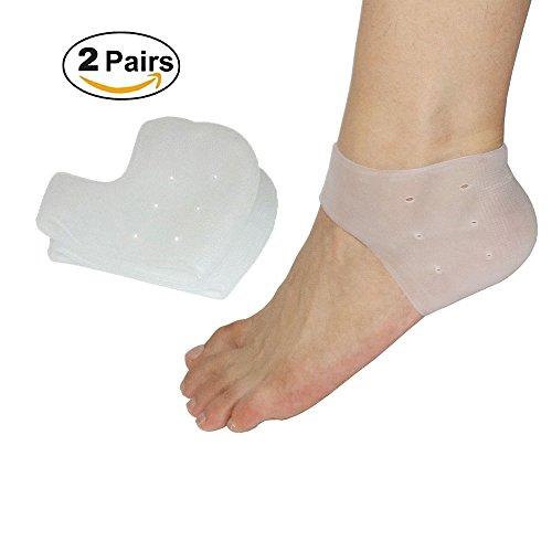 (2 Paar) Plantar Fasciitis-Fersensocke, Gel-Fersenärmel atmungsaktiv, reduziert rissige Ferse, Fersensporn Schmerzen und gebrochene Ferse für Männer und Frauen