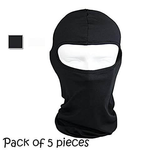Ezyoutdoor 5 pieces Thermal Swat Ski Neck Hoods Full Face Mask Cover Hat Cap for Riding Cycling Hunting Fishing Walking Outdoor Sports (black)
