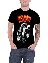 Dio T Shirt Ronnie James Flaming Band Logo Official Mens Black