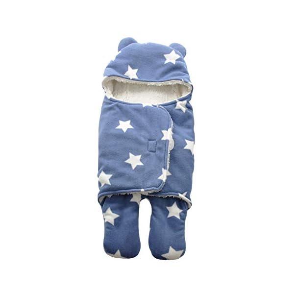 Miyanuby Saco de Dormir para Bebés, Suave y Cálido Franela de Invierno Saco de Dormir con Capucha para Niña y Niño, Manta para Bebé Recién Nacido 0 a 12 Meses