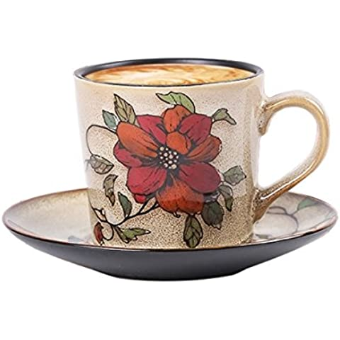 Teckpeak Hand Painted Porcelain Delicate Elegent Tea Coffee Cup Set with Saucer and Spoon - Flower