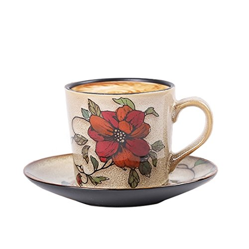 Hand Painted Porcelain Delicate Elegent Tea Coffee Cup Set with Saucer and Spoon - Flower