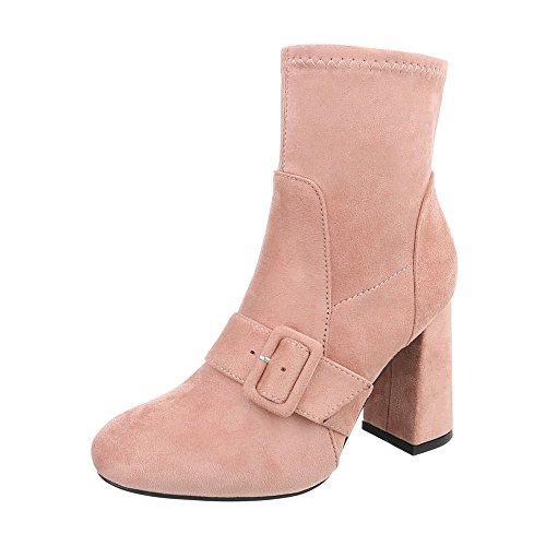 Ital-Design High Heel Stiefeletten Damen-Schuhe High Heel Stiefeletten Pump High Heels Reißverschluss Stiefeletten Pink, Gr 39, La02-