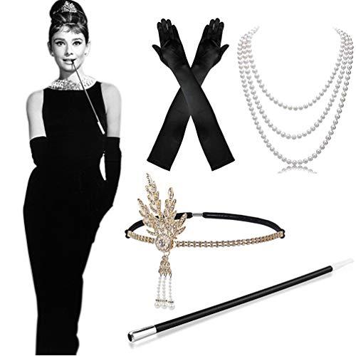MMTX 1920s Kostüm Damen Flapper Accessoires Set 20er Jahre Halloween Kostümzubehör Kleid Große Gatsby Zubehör Retro Stil Stirnband Inspiriert Accessoires (20er Schwarz Kleid Jahre)