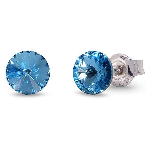 Spark Swarovski Elements Damen Ohrstecker Sterling Silber 925, Swarovski Kristall 6 mm rund hellblau aquamarin (Runde Swarovski-kristallen)