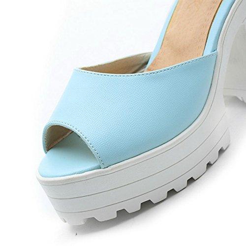 AgooLar Femme Ouverture Petite à Talon Haut Pu Cuir Couleur Unie Boucle Sandales à Plate-Forme Bleu