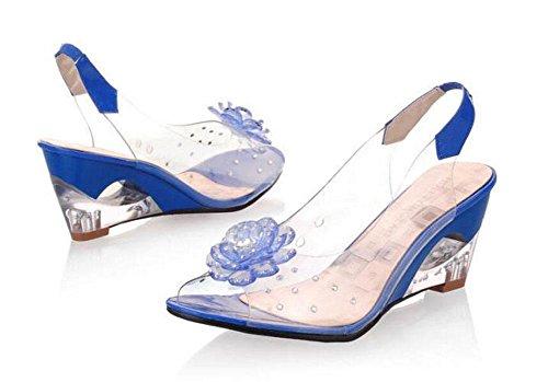 Pattini trasparenti del tacco basso dei sandali delle punte aperte Donne delle scarpe dei cunei dei diamanti del filetto grandi Blue