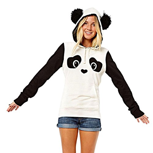 Kanpola Damen Sweatshirt Panda Langarm Hoodie Kapuzenpullover Tops (XS/34, Weiß) (Ralph Lauren Langarm Shirt Kleid)