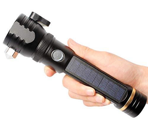 FFyy Solar Taschenlampe Multifunktions Blendung Suchscheinwerfer Lade Auto Notfall Sicherheitshammer LED explosionsgeschützte Taschenlampe