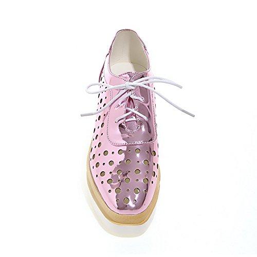 VogueZone009 Femme à Talon Correct Verni Couleur Unie Lacet Carré Chaussures Légeres Rose