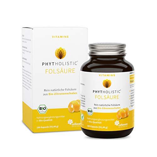 BIO Vitamin B9 (Folsäure) Phytholistic: (6-Monatspackung) - rein natürlich aus Zitronenschalen. Veganes Vitamin B9 OHNE künstliche Zusätze von Cellavent Healthcare - 180 Kapseln Folsäure