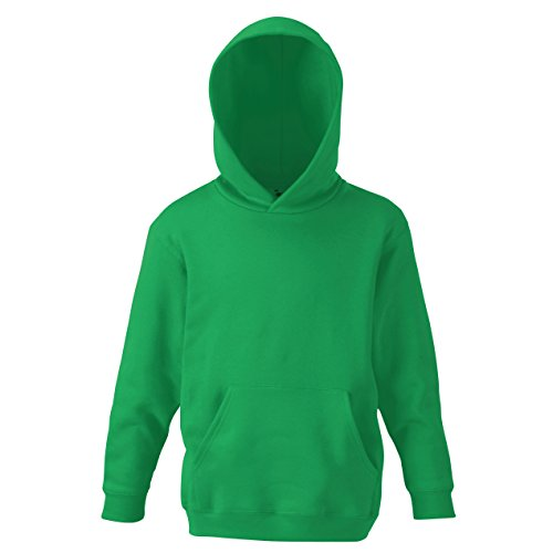 Fruit of the Loom Kinder Unisex Kapuzen Pullover Klassik 80/20 (9/11 Jahre (140)) (Kellygrün)