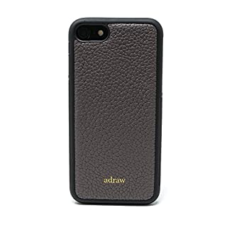 adraw Echtleder Case Kompatibel mit iPhone 7/8, edle Schutzhülle, Luxus Handyhülle, Leder Case, Hülle, echt Leder Etui (Apple iPhone 7/8, Grau)