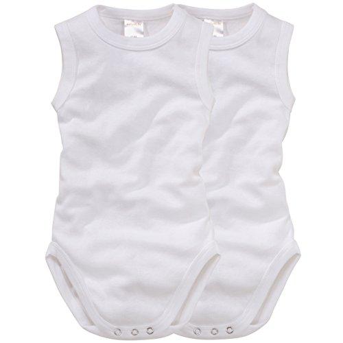 wellyou, 2er Set Baby-Body Kinder-Body ohne Arm, klassisch weiß, ärmellos für Jungen und Mädchen, Feinripp 100% Baumwolle, Größe 50-134