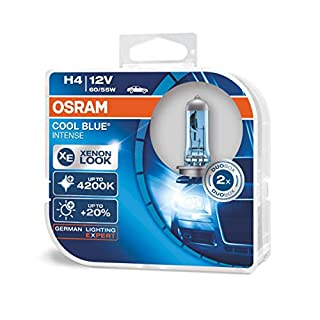 OSRAM COOL BLUE INTENSE H4, headlight bulb for halogen headlamps, xenon effect for white light, 64193CBI-HCB, 12V passenger car, duobox (2 units) (B005TSV97G) | Amazon price tracker / tracking, Amazon price history charts, Amazon price watches, Amazon price drop alerts