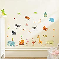 TYKCRt Wall Sticker Jungle Animals S For Kids Rooms Safari Nursery Rooms Baby Home Decor Poster Monkey Elephant Horse Decals
