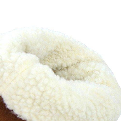 TAOFFEN Damen Mode Flache Winter Langschaft Stiefel Mit Quasten Gelb