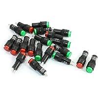 Sourcingmap - Ac guscio di plastica 220v lampada di segnalazione rosso verde mini spia 20pcs