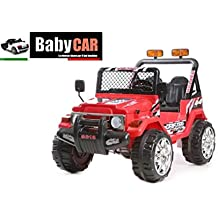 Coche eléctrico para conducir BABYCAR 12v jeep 4 x 4 ROJO con mando a distancia para el control remoto