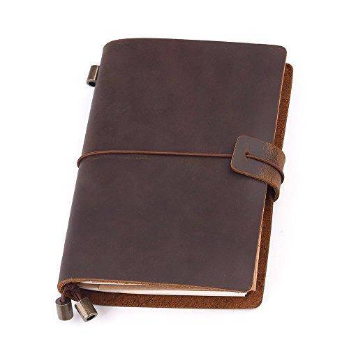 Notizbuch Leder Notizbuch Vintage Leder Tagebuch Travelers Notebook Perfekt für Schreiben Travel Journal Leather Journal Geschenk für Mann & Frau Nachfüllbar Notizbuch & Travel Tagebuch, 13.5 x 10.5cm, Braun