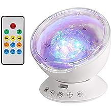 Lámpara Proyector, Proyector de Luz Océano Nocturna para 12 LED y 7 Modos, Luz