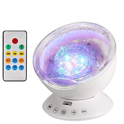 Stimmungslichter Ozeanwellen Projektor Baby Nachtlicht LED Projector mit Fernbedienung und Timerfunktion 7 Farbkombination, 4 Natur Sound Simulation zum Weihnachtsdekoration Party Deko und Geburtstagsgeschenk