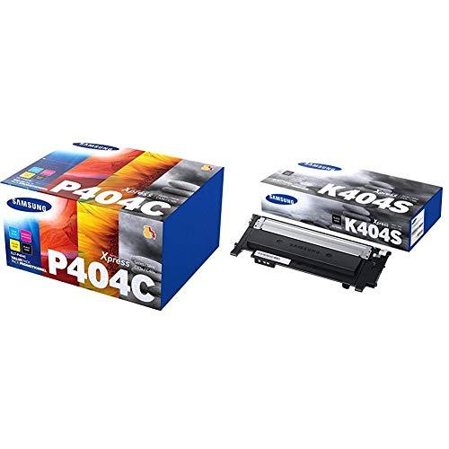 Samsung CLT-P404C SU365A Cartucce Toner Originali, per le Stampanti Laserjet Serie Xpress C430, C480 e C483, 4.500 Pagine, Multipack da 4, Nero, Ciano/Giallo/Magenta & Clt-K404S Black Toner Cartridge