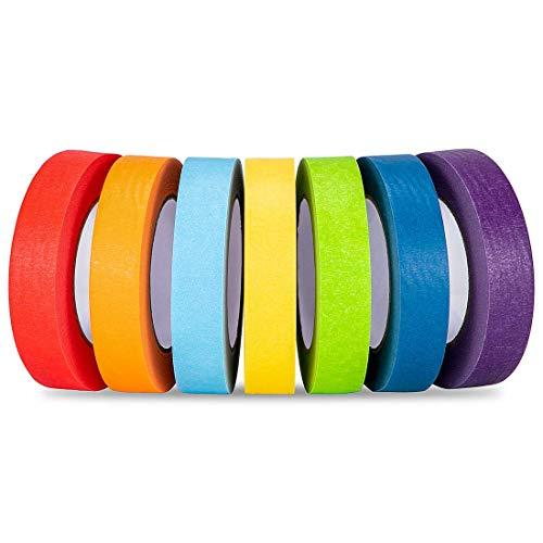 -Set, 7er-Pack, 25,4 mm x 55 m, mehrfarbiges Klebeband, dekoratives beschreibbares Bastelband für Bastelarbeiten, Buchdesigns, Masking Tape, Geschenk für Kinder ()